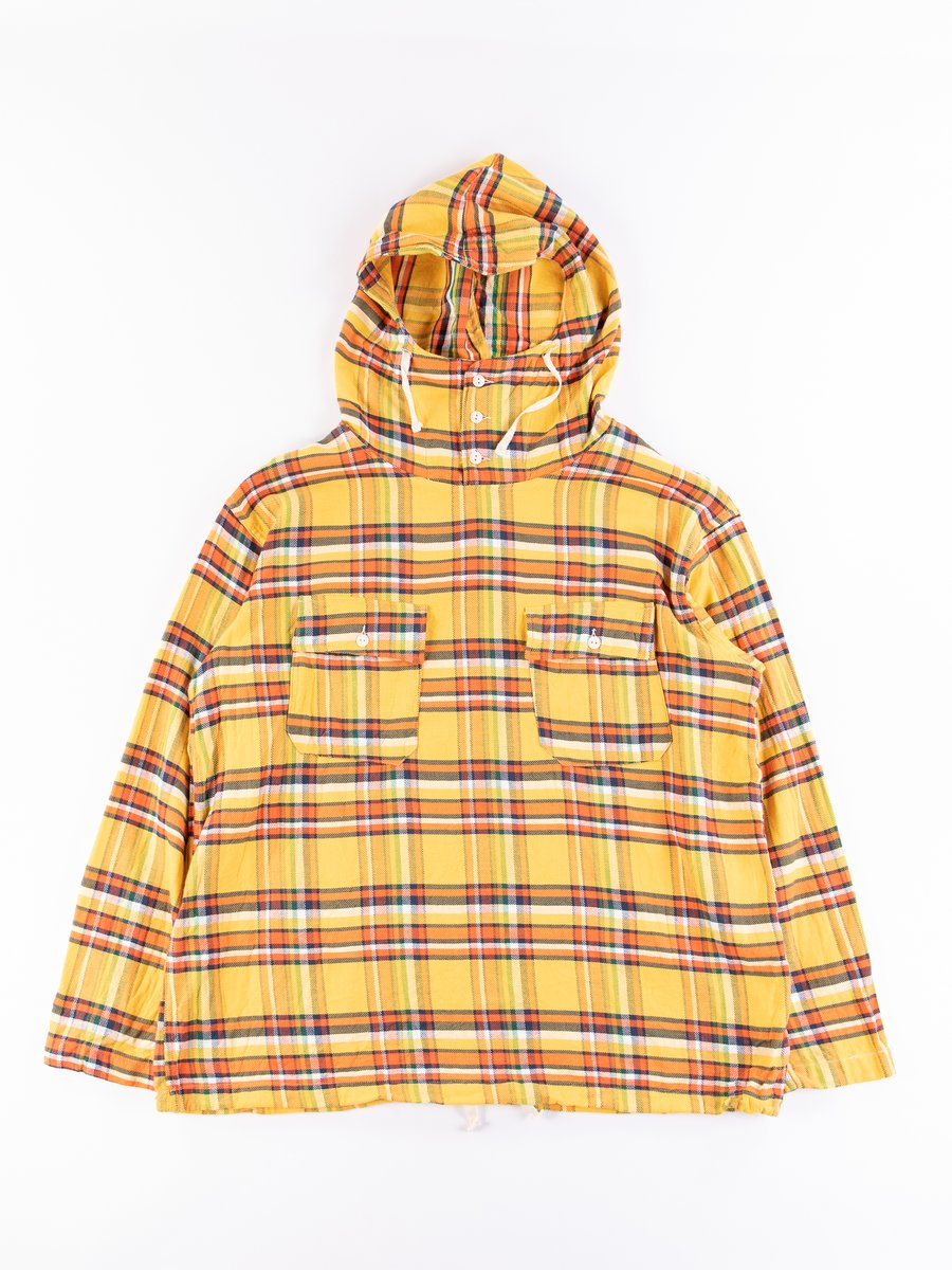 Yellow Cotton Twill Plaid Cagoule Shirt