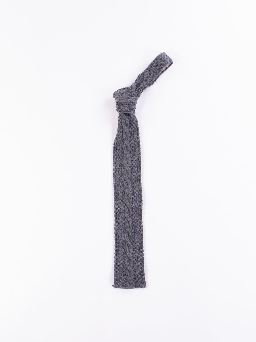Grey Wool Cable Knit Tie
