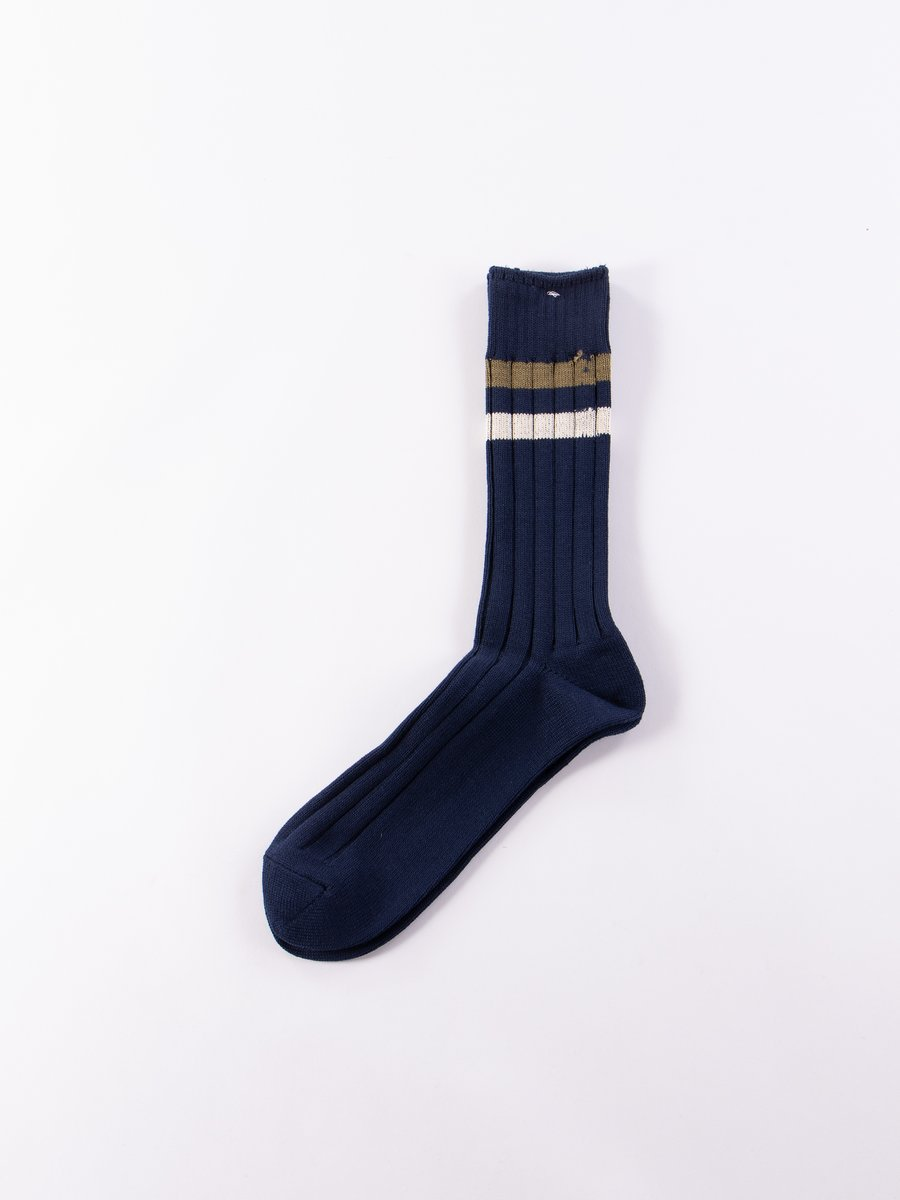 Navy Ribbed Line Crew Sock