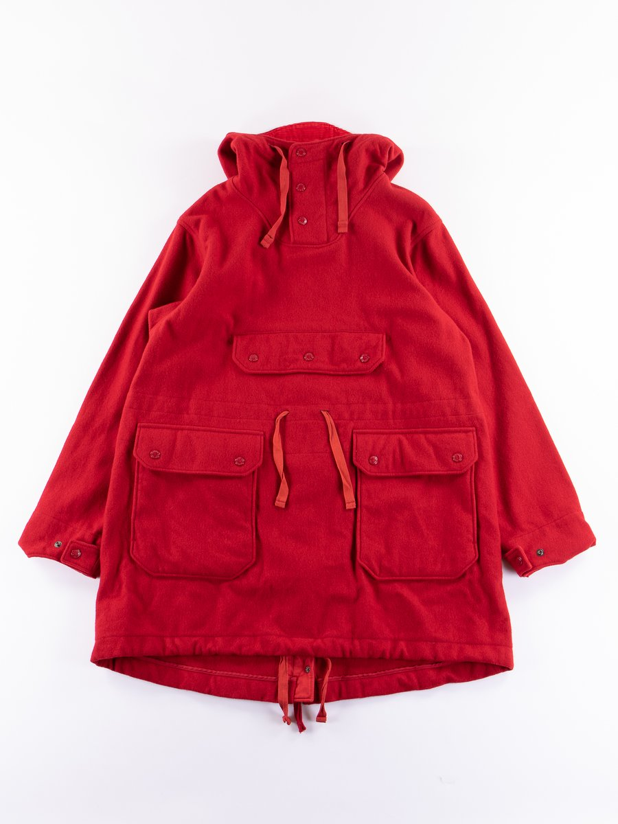 Red Wool Melton Over Parka