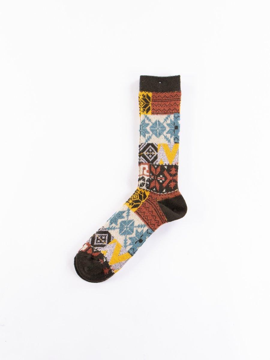 Brown Fairisle Jacquard Crew Socks