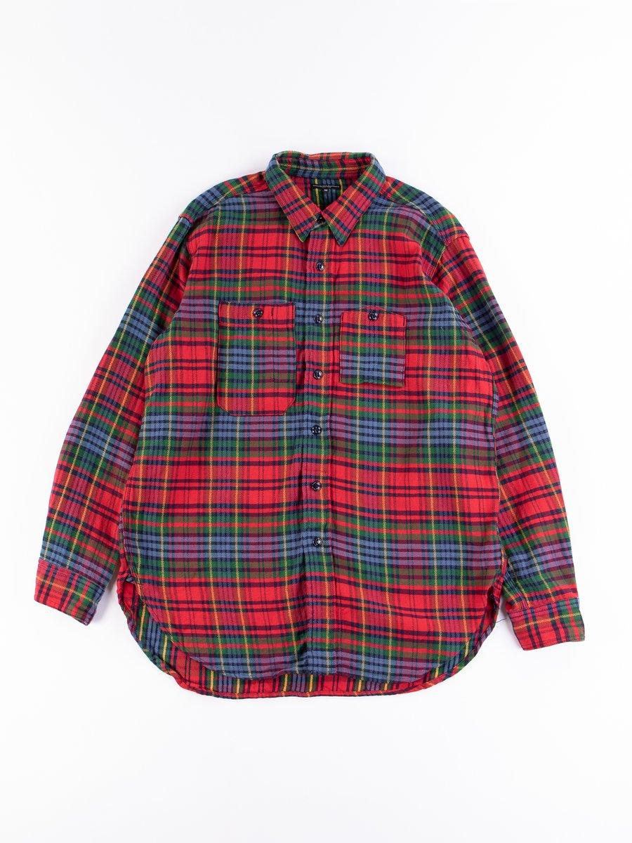 Navy/Red/Green Cotton Twill Plaid Work Shirt
