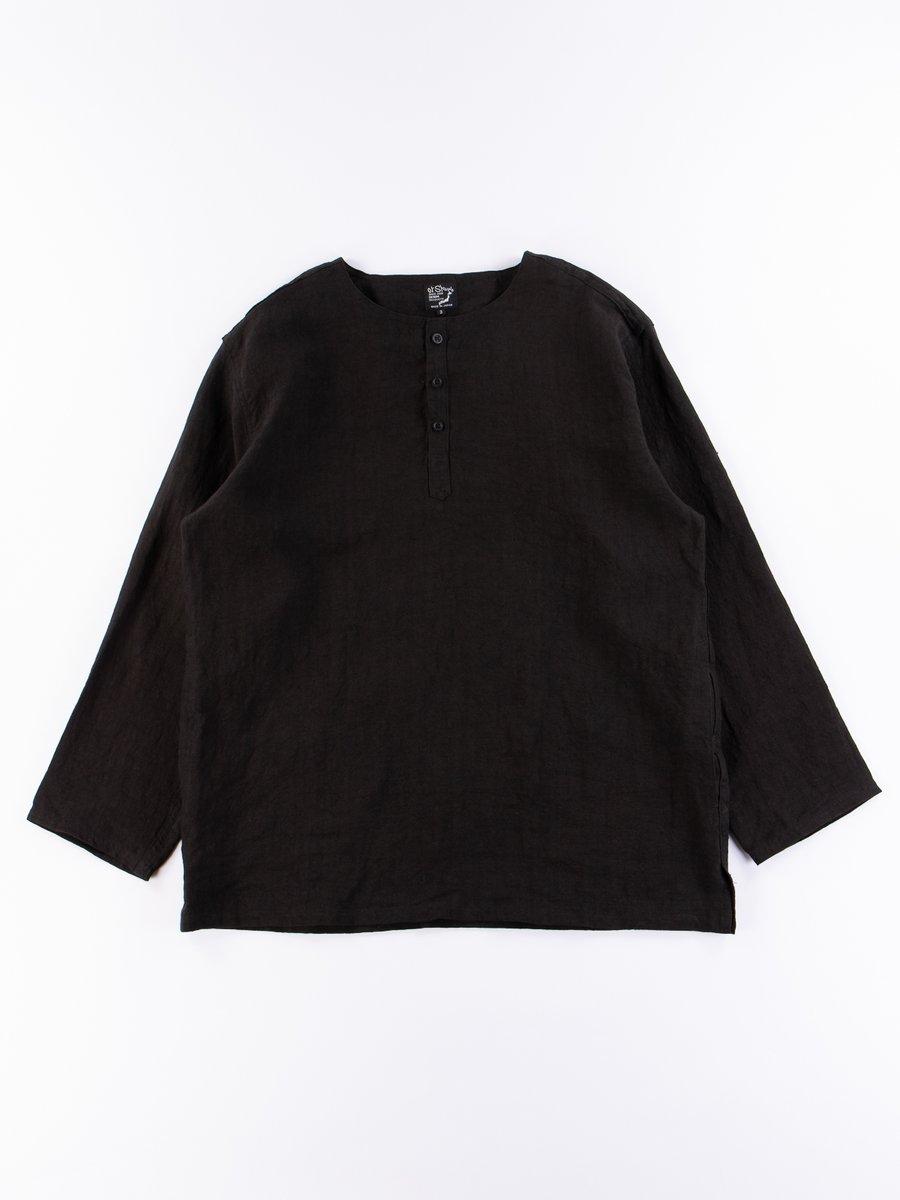 Black Linen Pullover Shirt