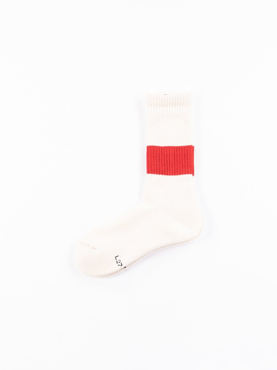 Ivory/Red Silk Classic Crew Socks