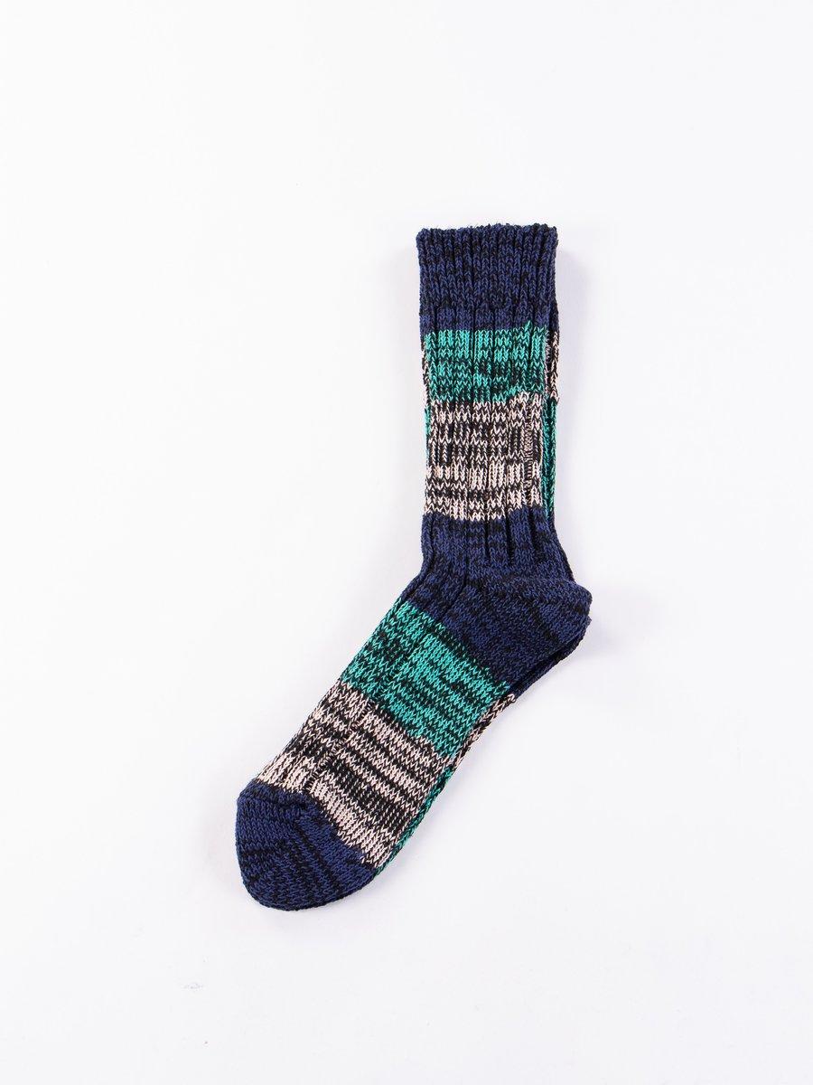 Blue/Emerald/Pink Mixture Crew Socks