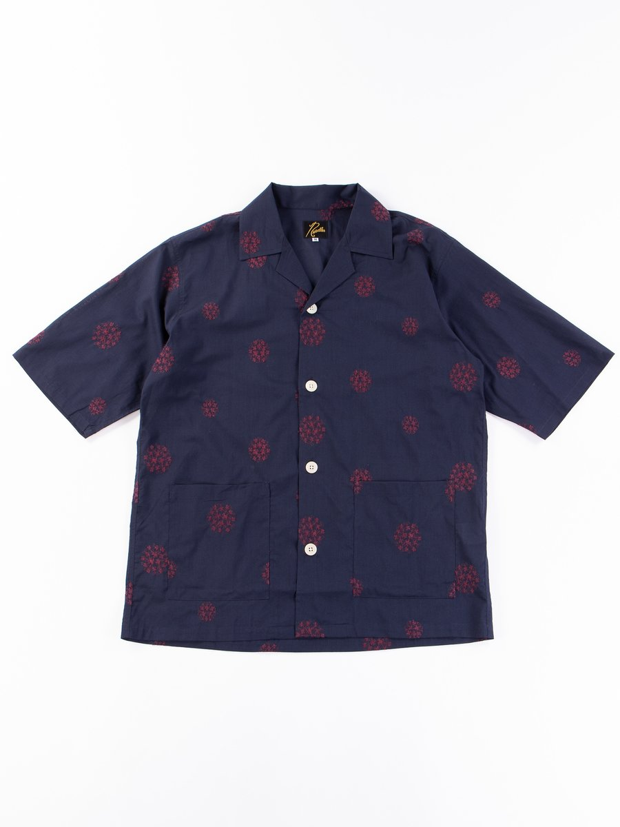 Navy Floral Dot Embroidered Cabana Shirt