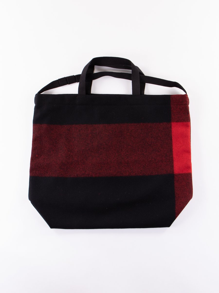Black Big Plaid Wool Melton Carry All Tote
