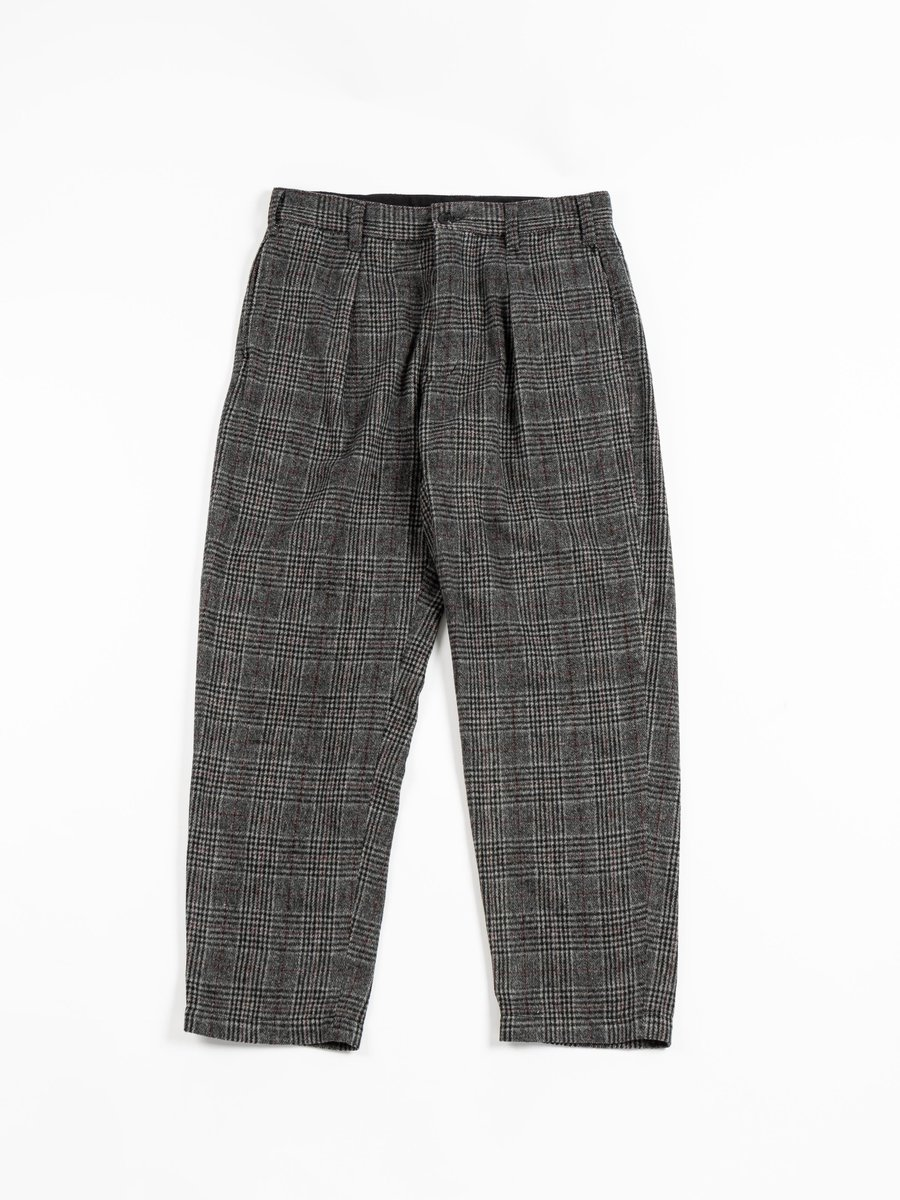 CARLYLE PANT GREY MAROON POLY GLEN PLAID