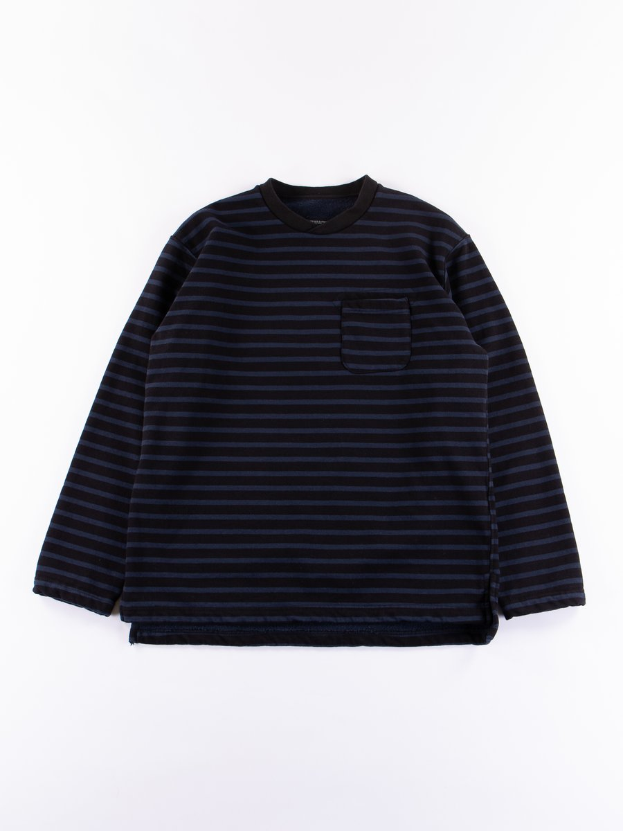 Black/Navy Stripe 20oz French Terry Long Sleeve Crew Neck