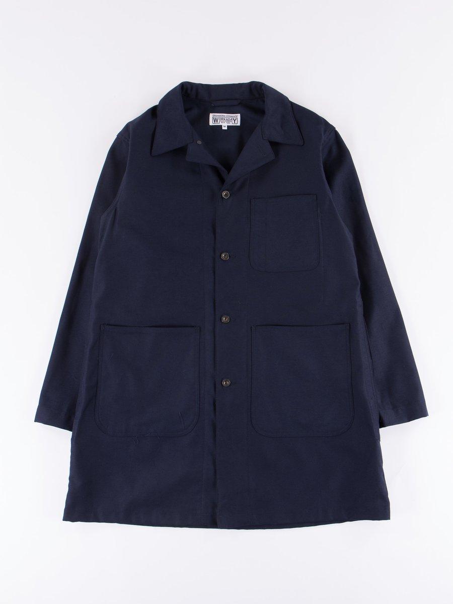 Dark Navy Reversed Sateen Shop Coat