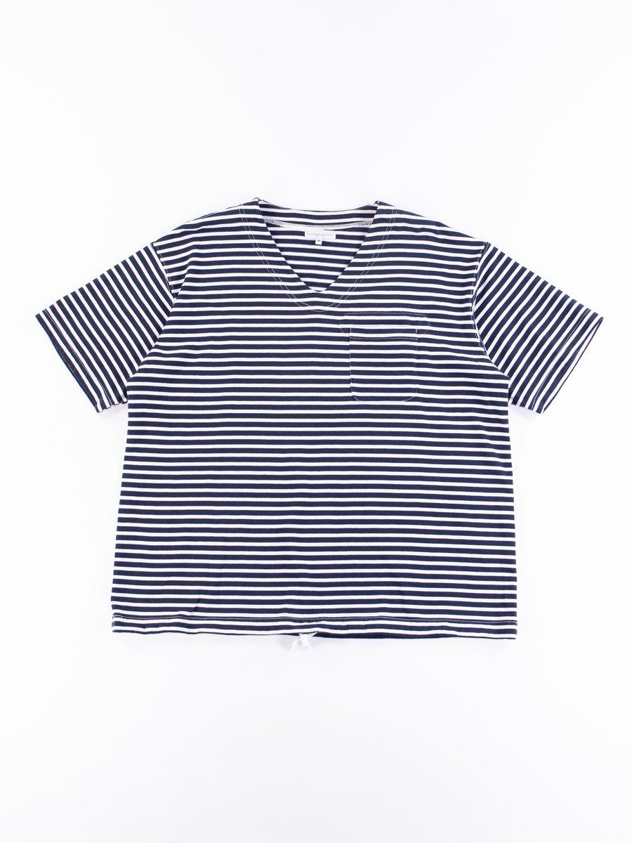 Navy/White PC Stripe Jersey U Neck Popover
