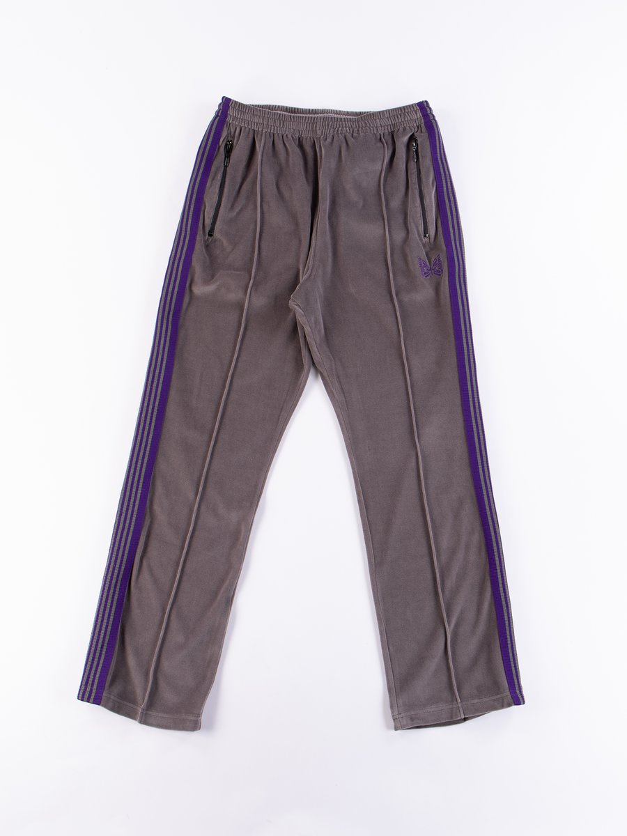 Grey Velour Narrow Track Pant