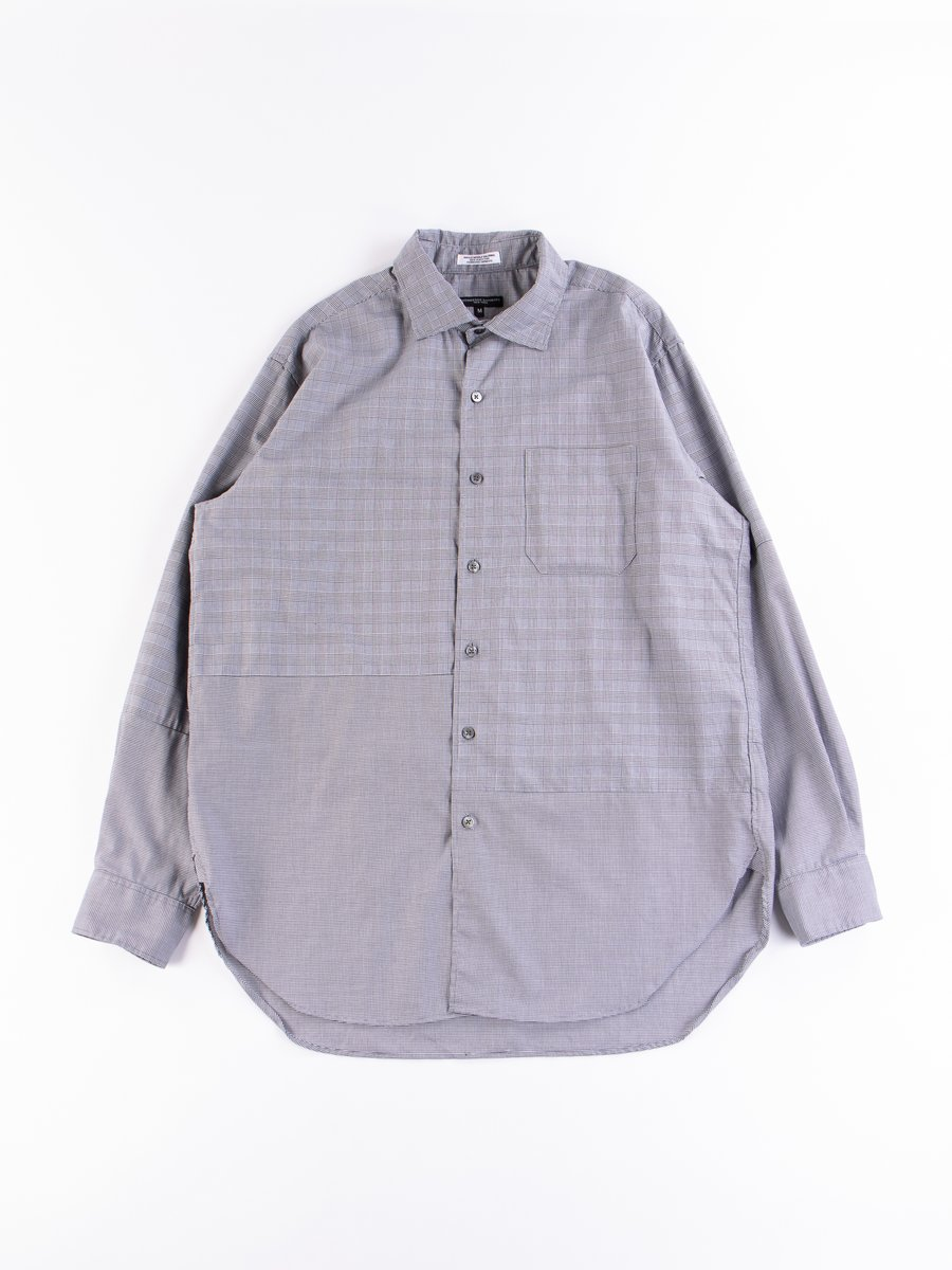 Black/White Cotton Glen Plaid Spread Collar Shirt