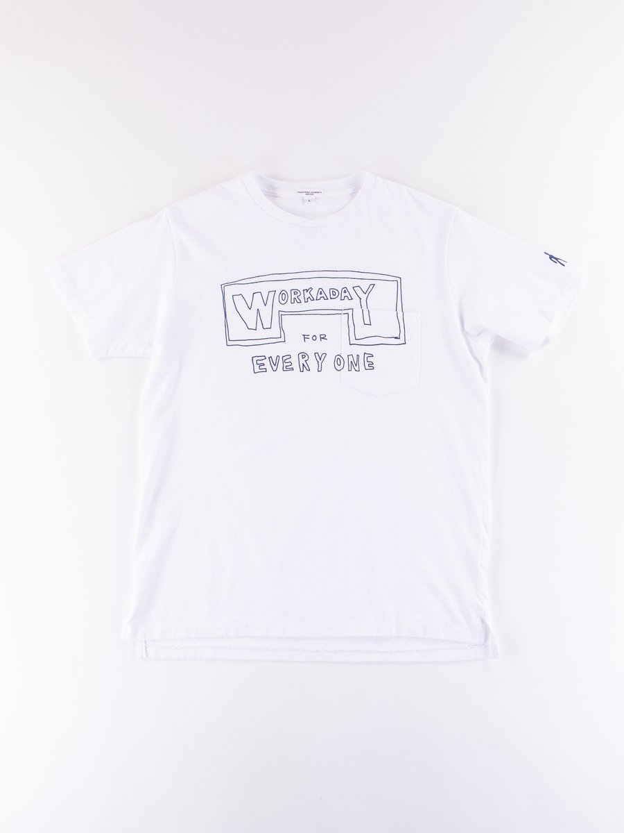 White Everyone Crossover Crew Pocket Tee