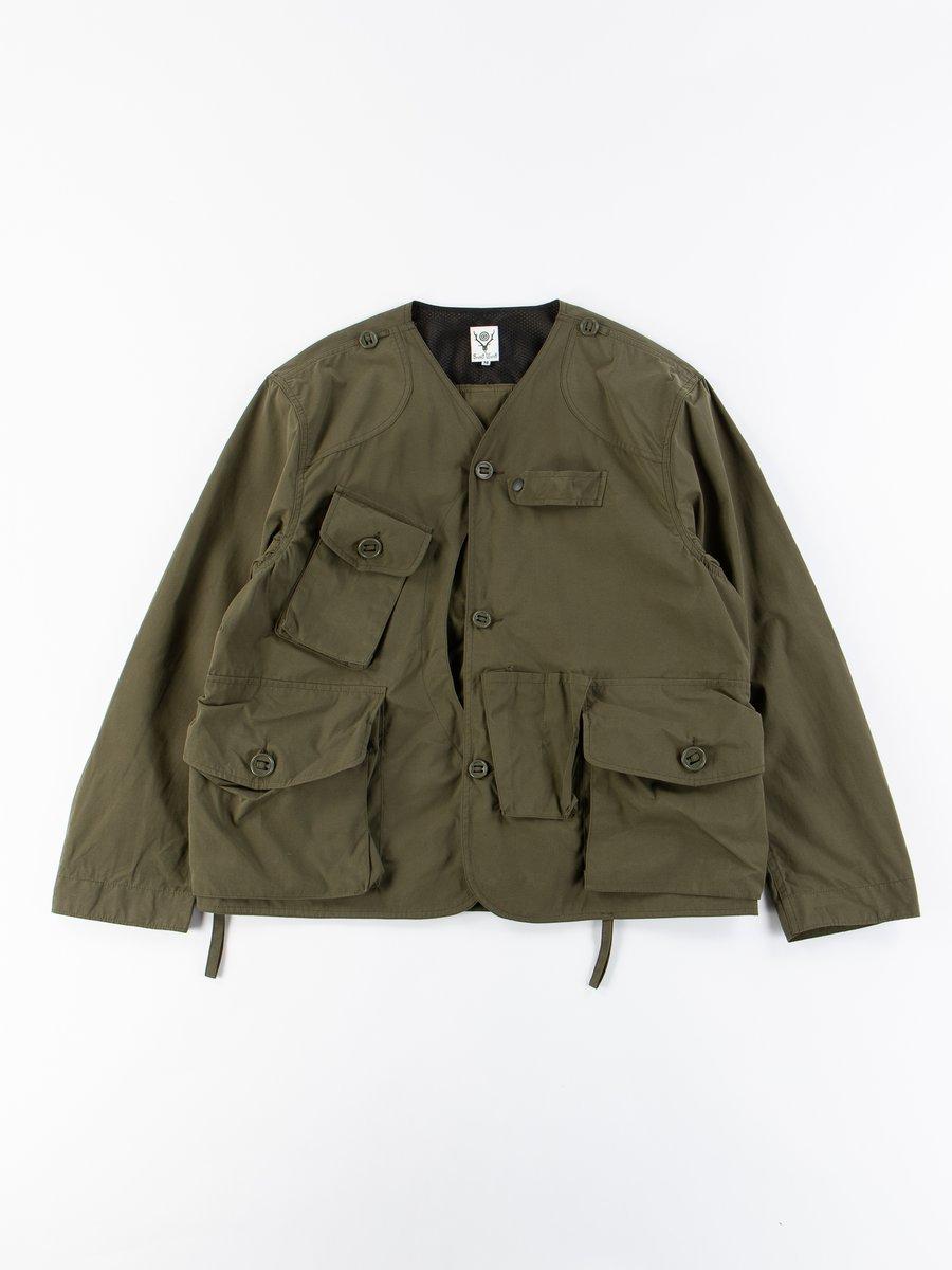 Olive Wax Coating Tenkara Collarless Jacket