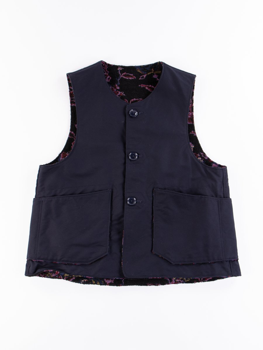 Navy Cotton Double Cloth Over Vest