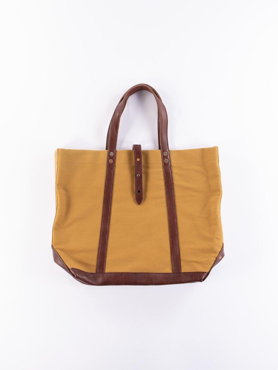 Dark Beige 5220 Leather & Canvas Tote Bag