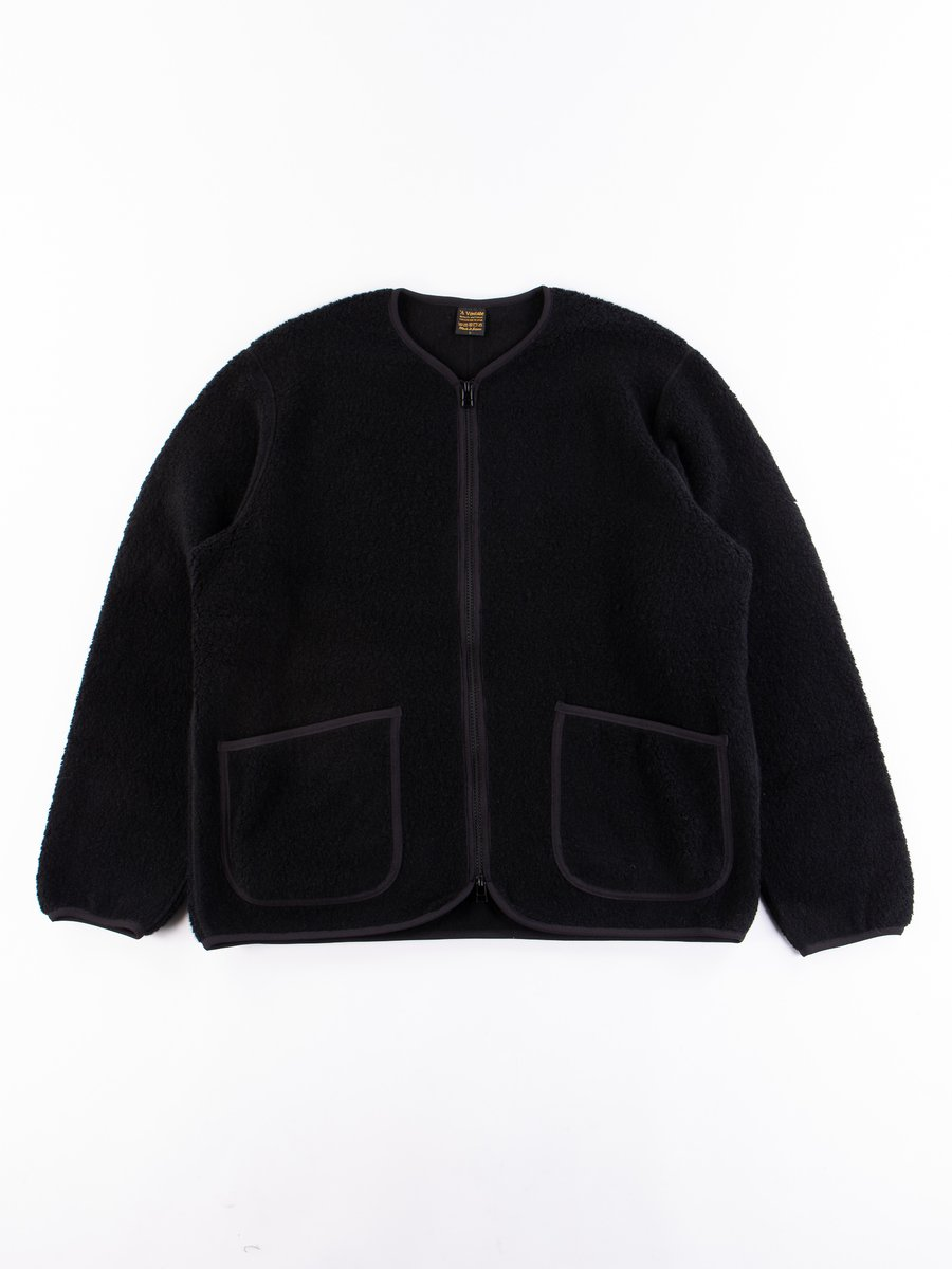 Black Wool Pile Zip Cardigan