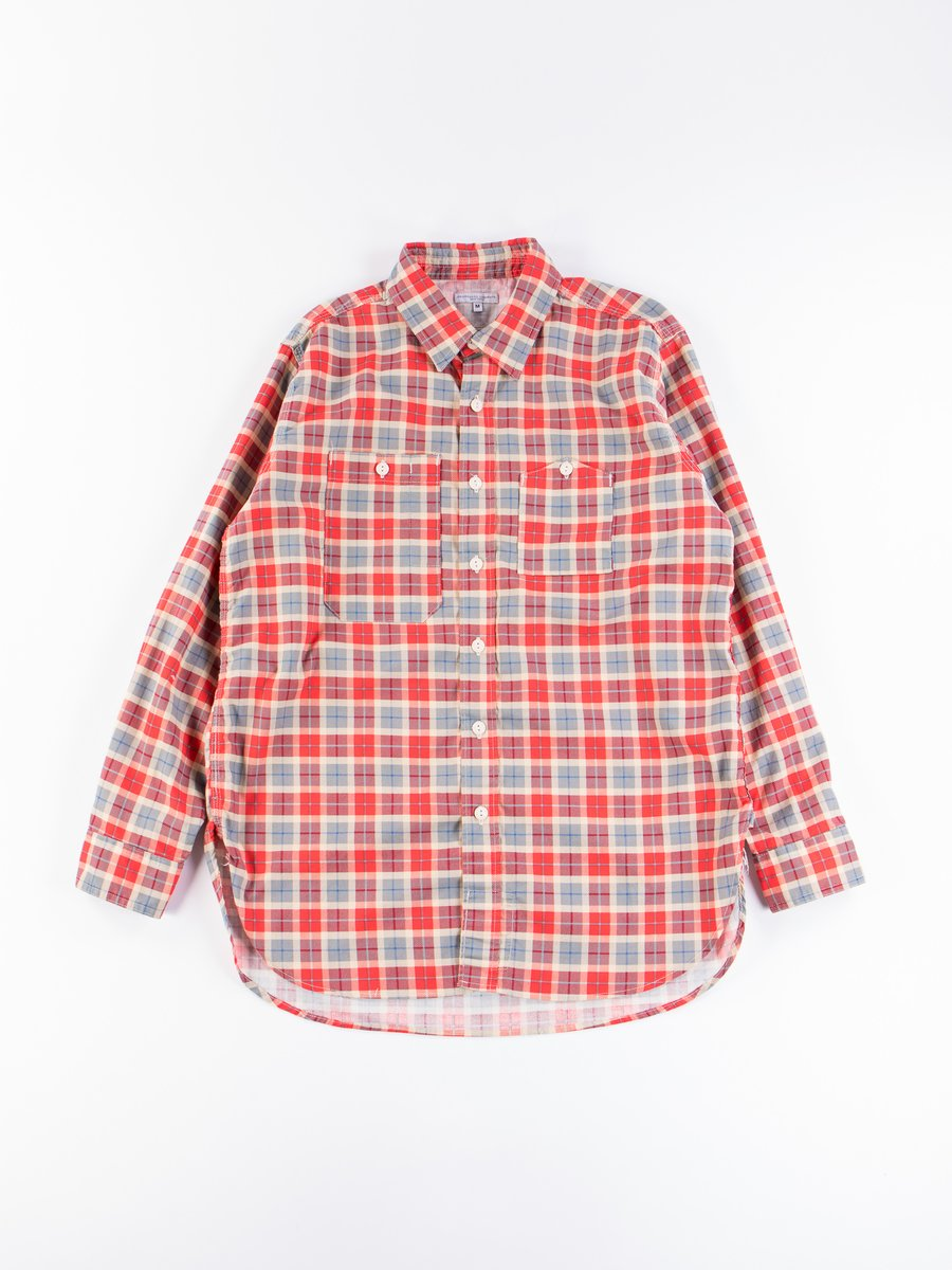Red/Beige Cotton Printed Plaid Work Shirt