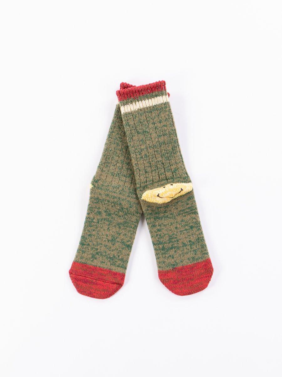 Green 72 Yarns Wool Ivy Smiley Heel Socks