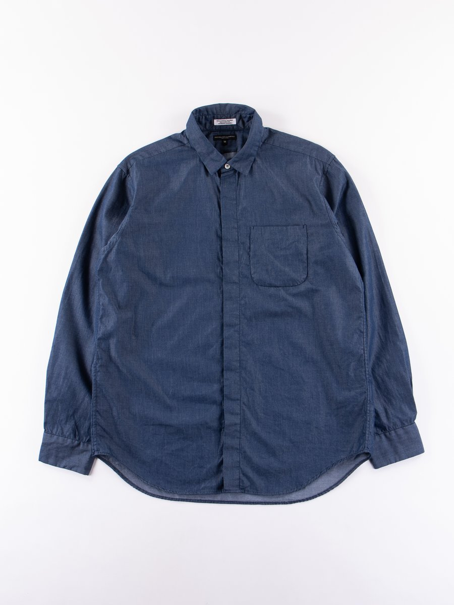 Navy Light Weight Denim Short Collar Shirt