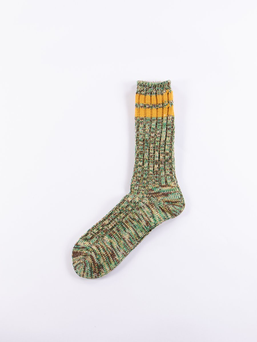 Green/Yellow 2 Line Rib Crew Socks