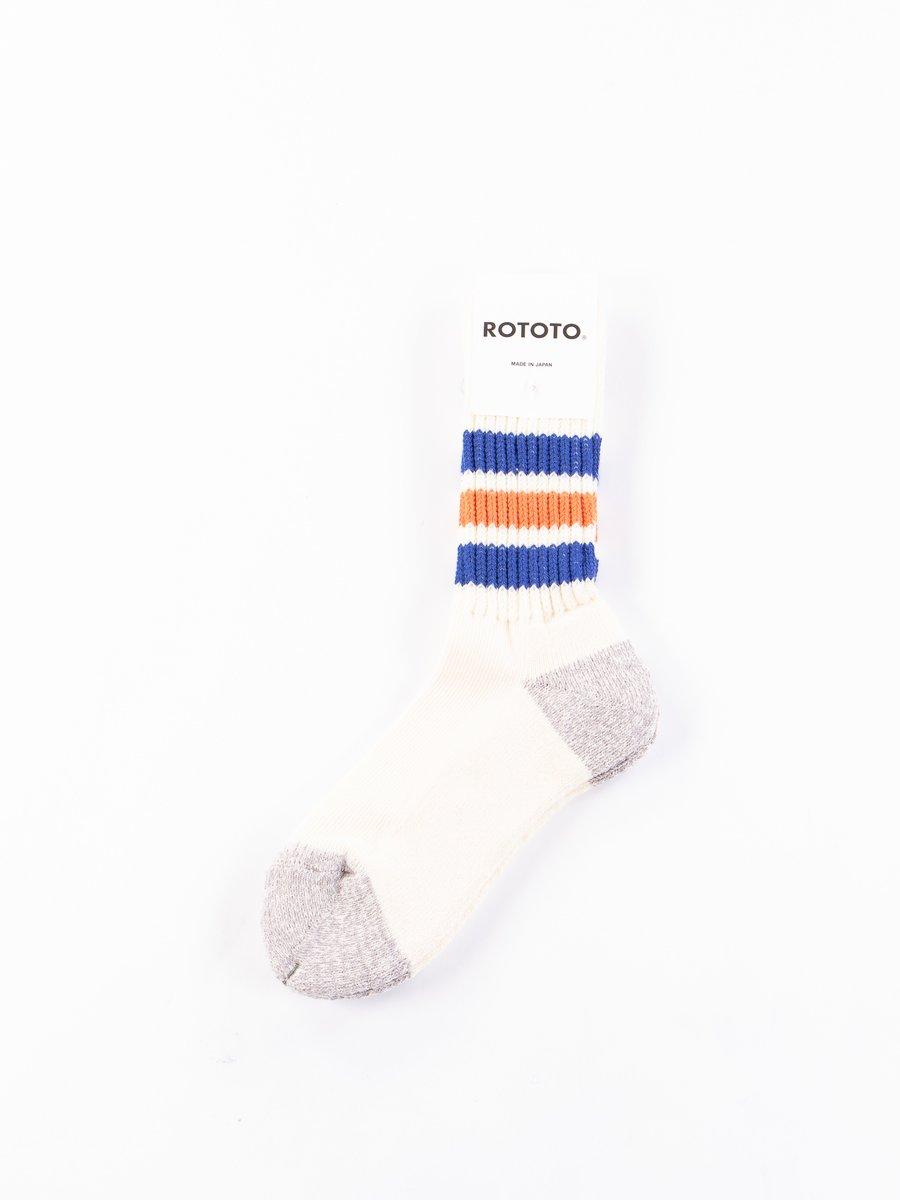 Blue/Orange Coarse Ribbed Oldschool Crew Socks