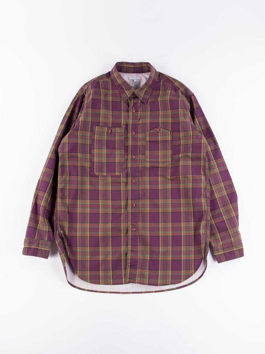 Purple/Green Cotton Printed Plaid Work Shirt
