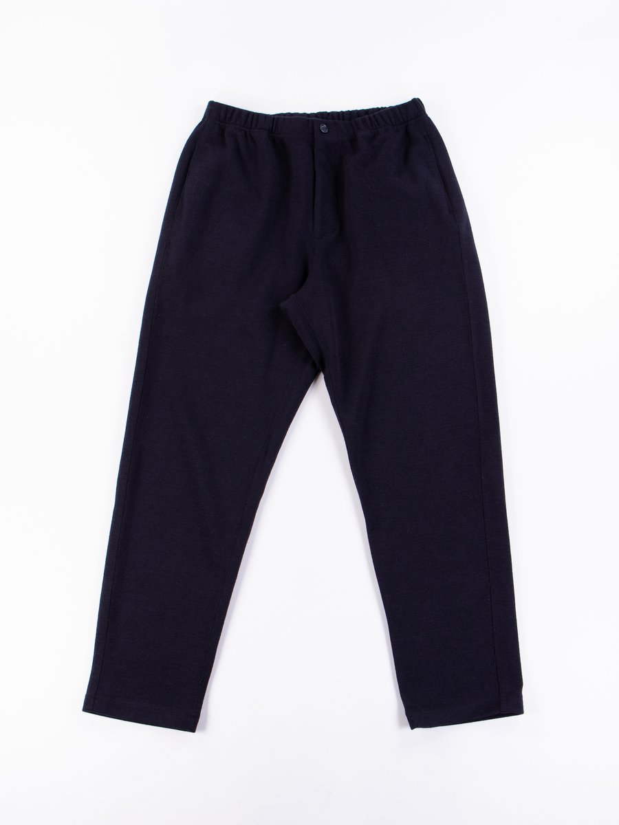 Dark Navy Poly Wool Jersey Knit Jog Pant