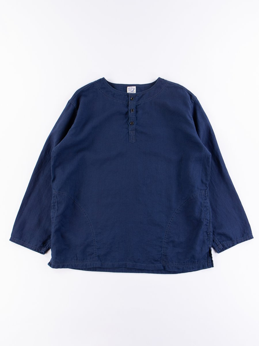 Indigo Linen Pullover Shirt