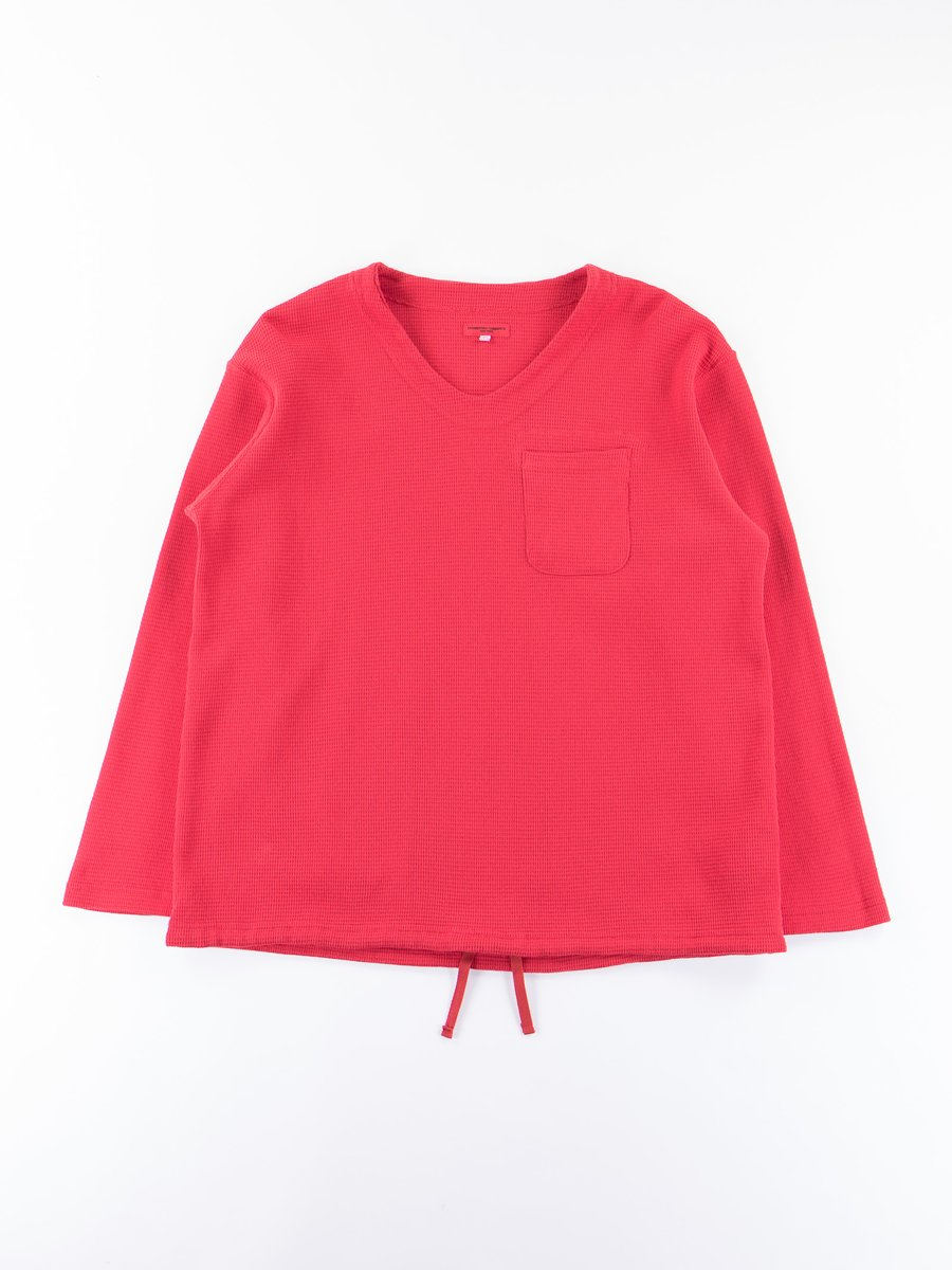 Red Overdye Cotton Thermal U Neck Pop Over