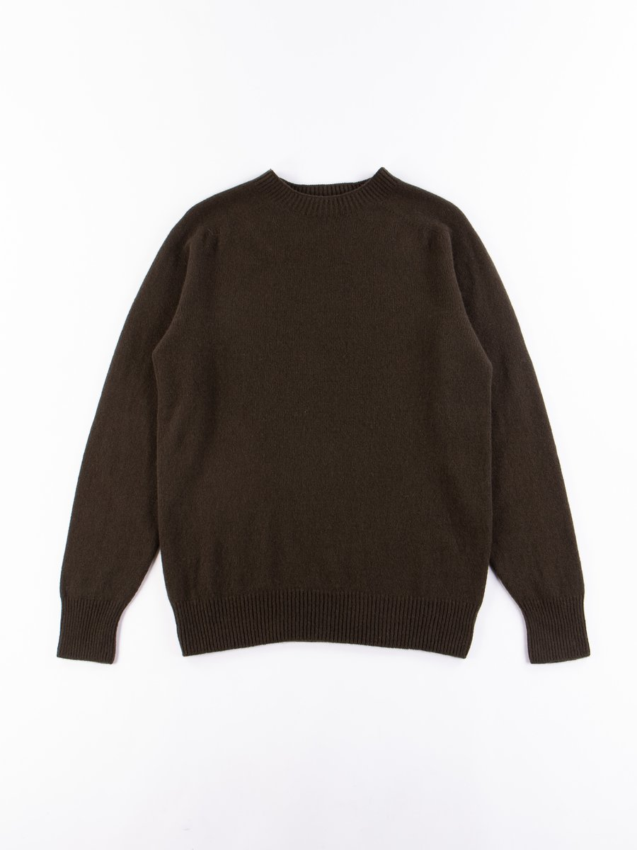 Dark Olive Merino/Cashmere Saddle Crew Neck Sweater