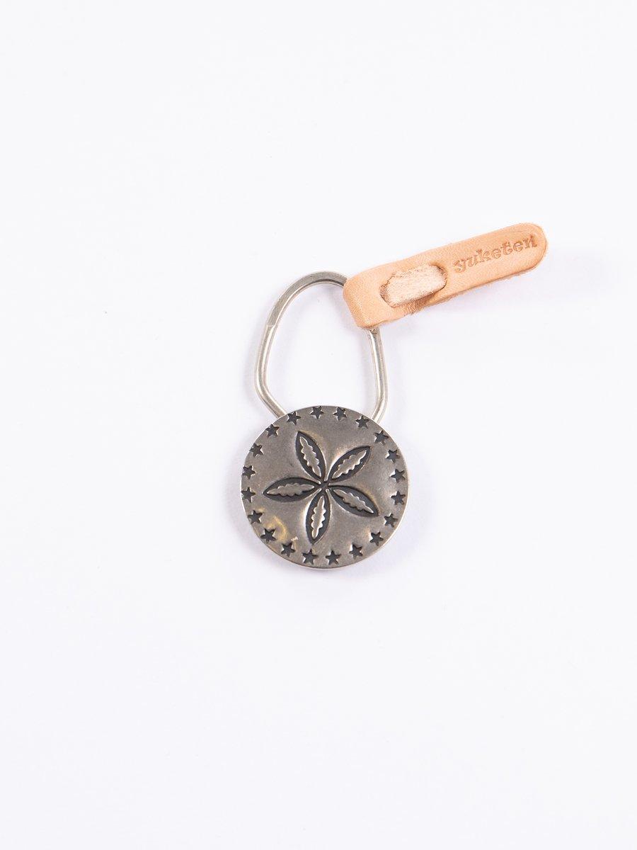 Nickel Silver 5 Petal Flower Concho Keychain