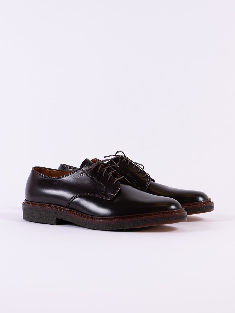 Color 8 Cordovan Plain Toe Blucher with Crepe Sole