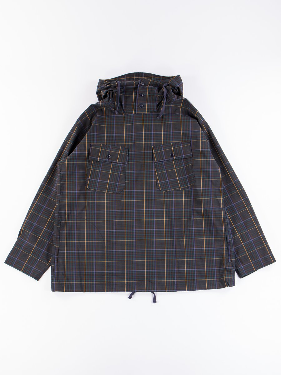 Dark Brown Polyester Rayon Glen Plaid Cagoule Shirt