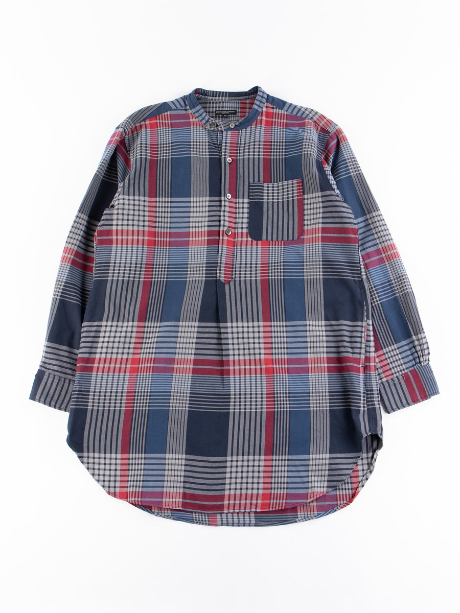 Navy/Grey/Red Cotton Twill Plaid Banded Collar Shirt