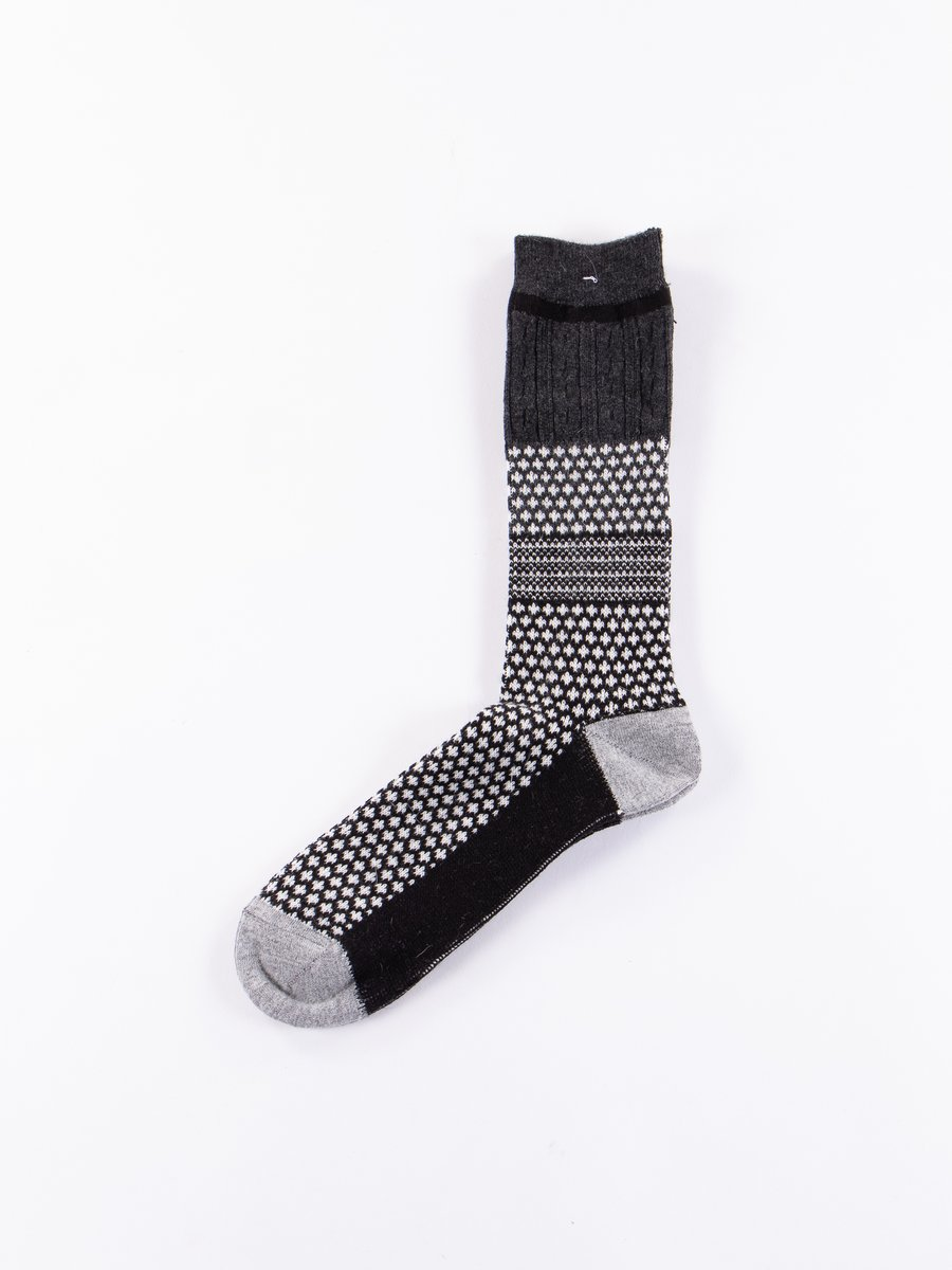 Black/Charcoal Club Knit Socks