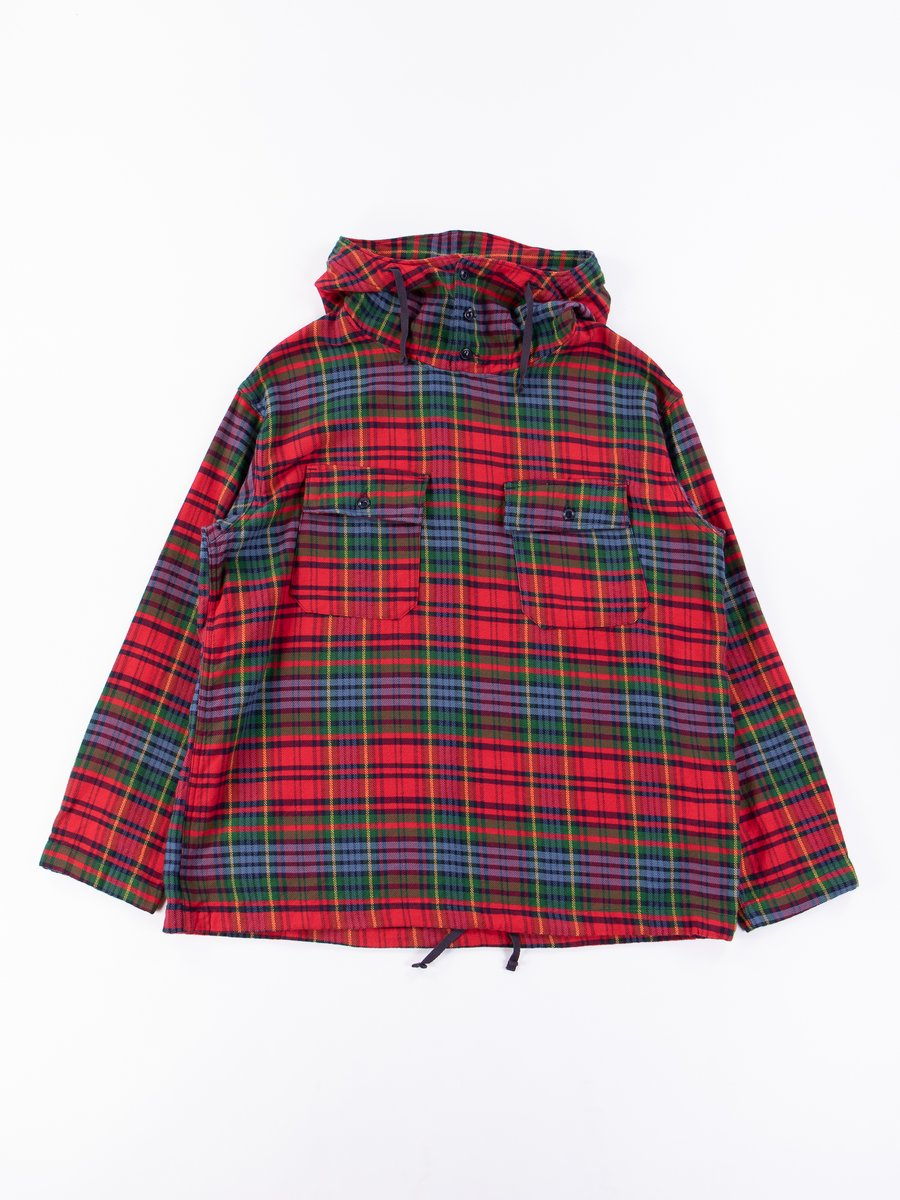 Navy/Red/Green Cotton Twill Plaid Cagoule Shirt