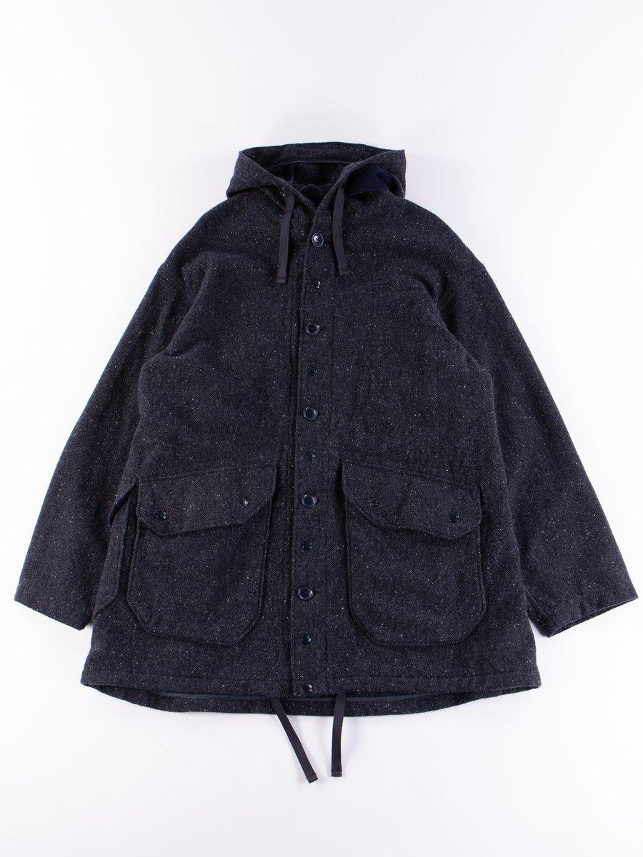 Navy Herringbone Donegal Wool Tweed Madison Parka