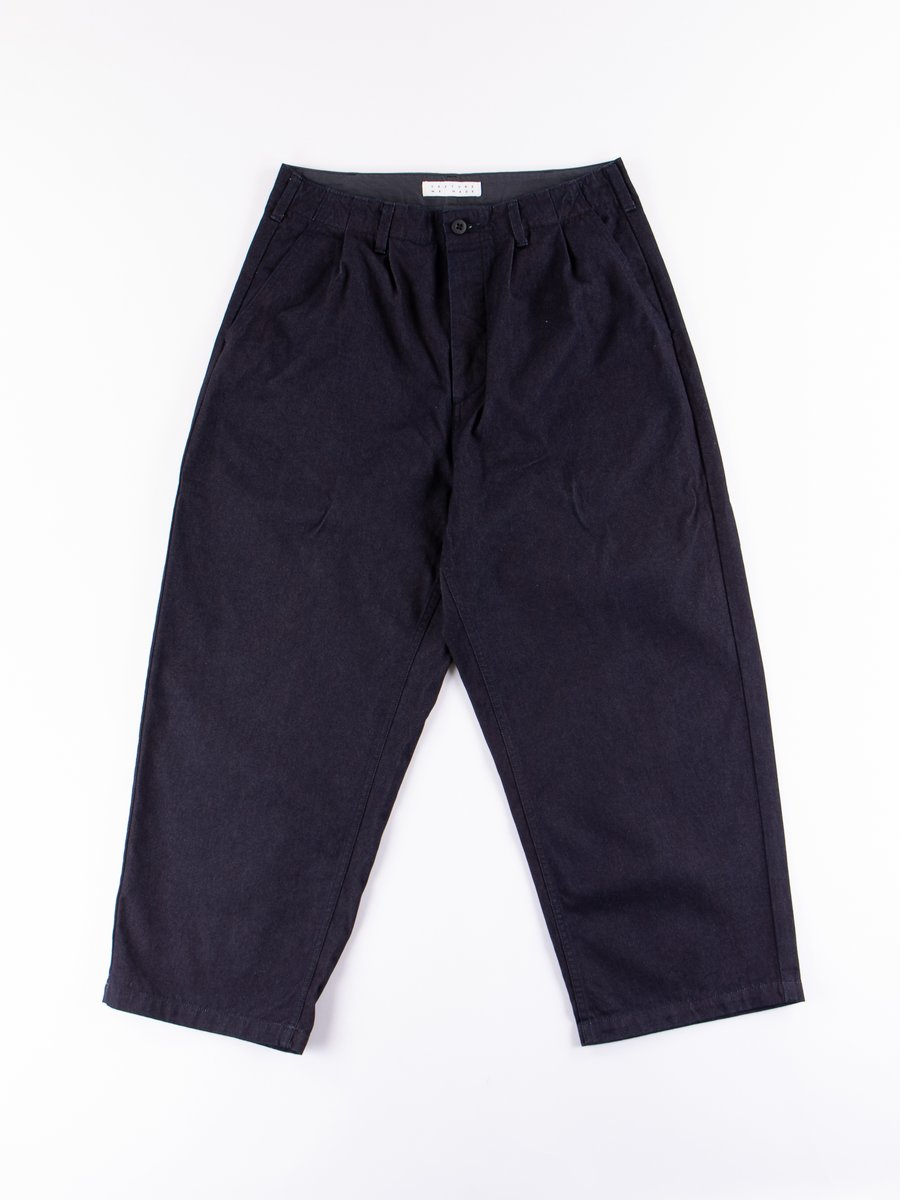 Indigo Wide Tuck Pants