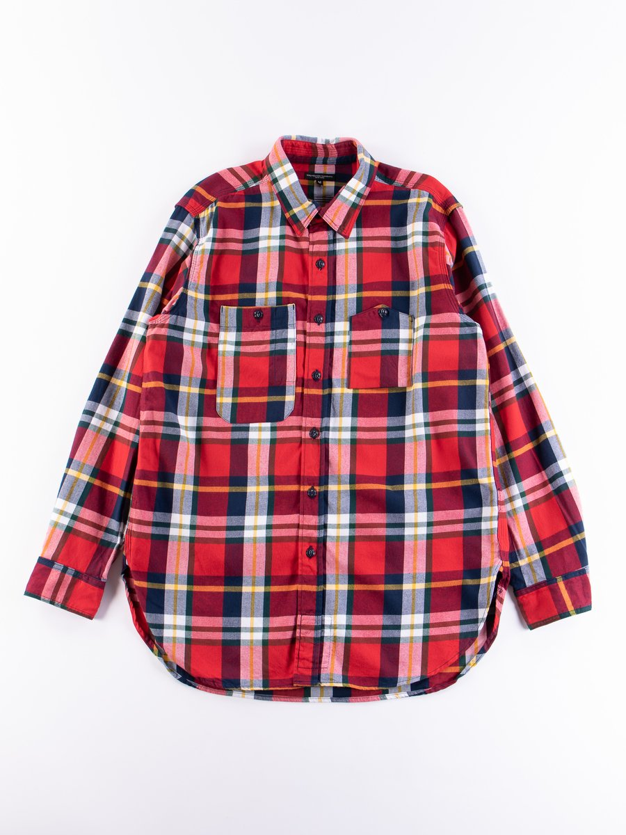 White/Red/Green Cotton Twill Plaid Work Shirt