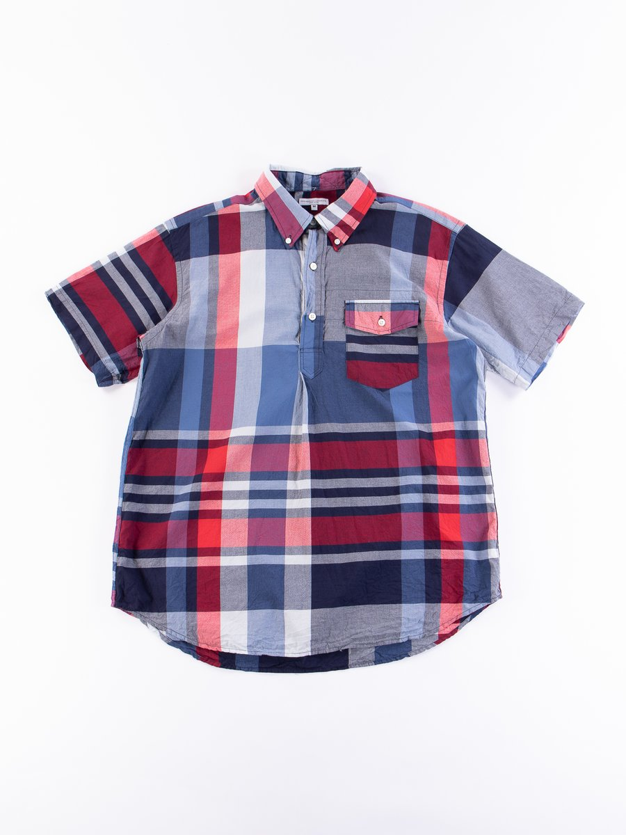 Navy/Red Big Madras Plaid Popover BD Shirt