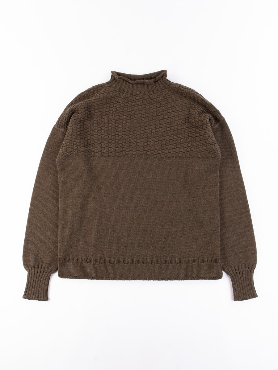 Army Green Multi End Seamless Wool Sweater