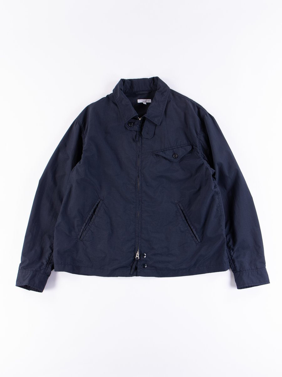 Navy Acrylic Coated Nylon Taffeta Driver Jacket