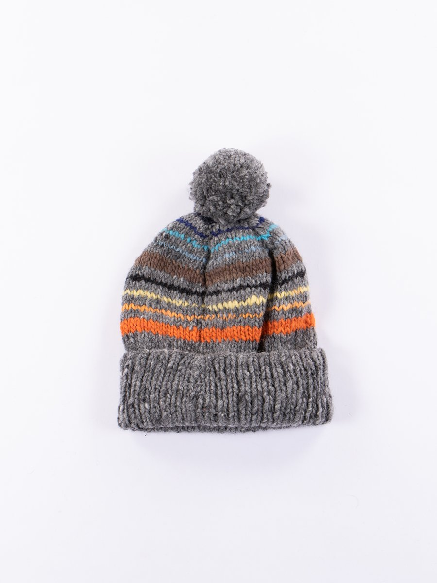 Grey Multi Double Cuff Stripe Cap