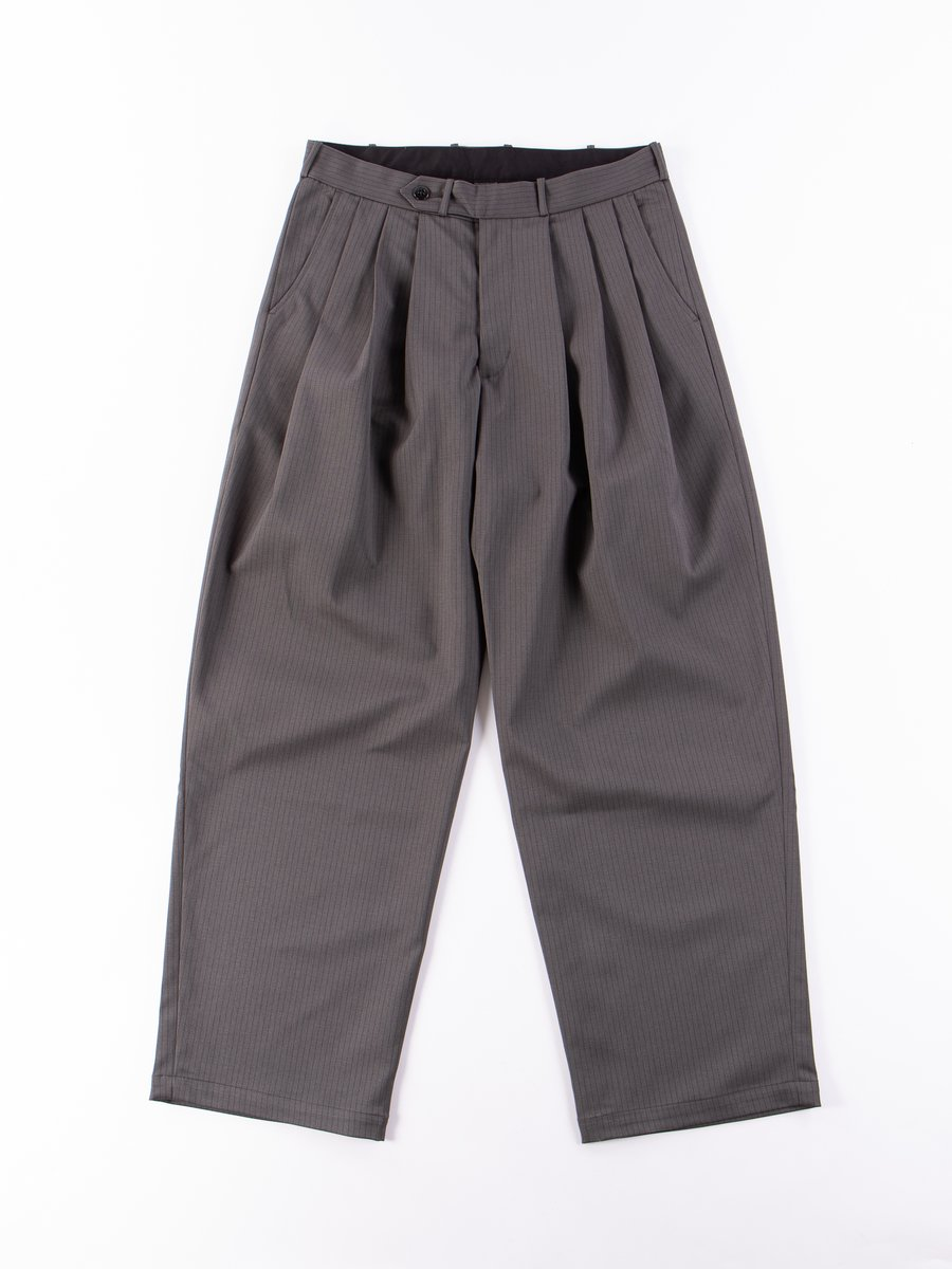 Grey Nova Pinstripe Triple Tuck Wide Pant