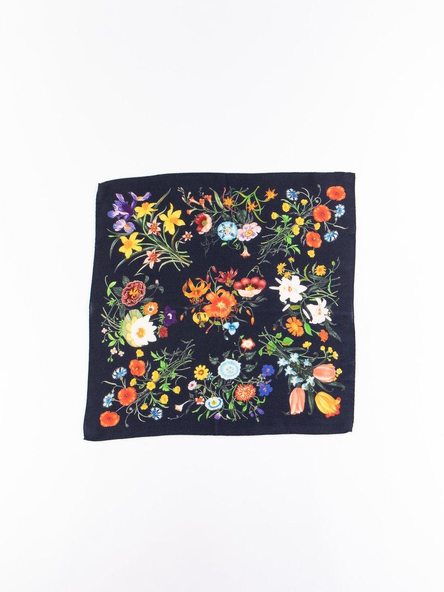 Navy Wool Floral Neckerchief