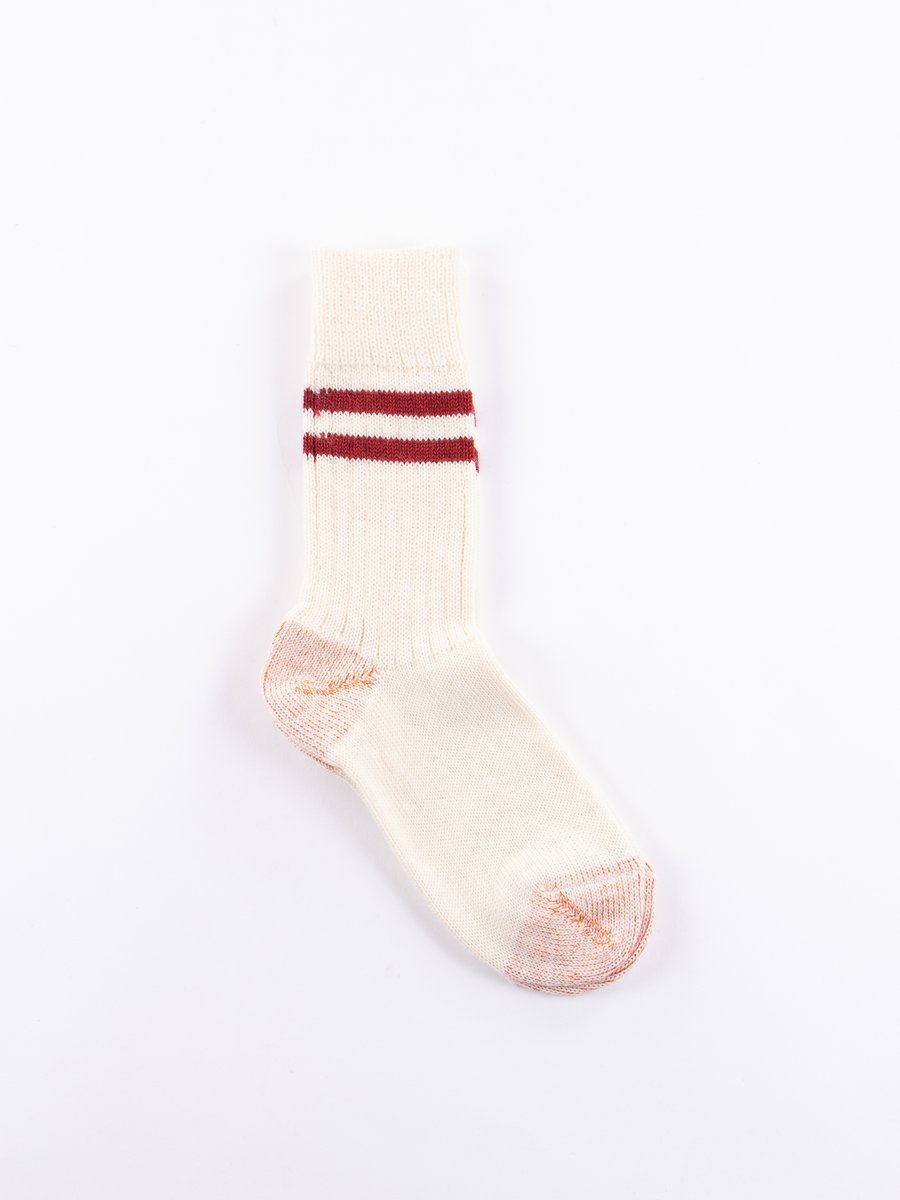 Natural/Dark Red S75 Wool Striped Sport Sock