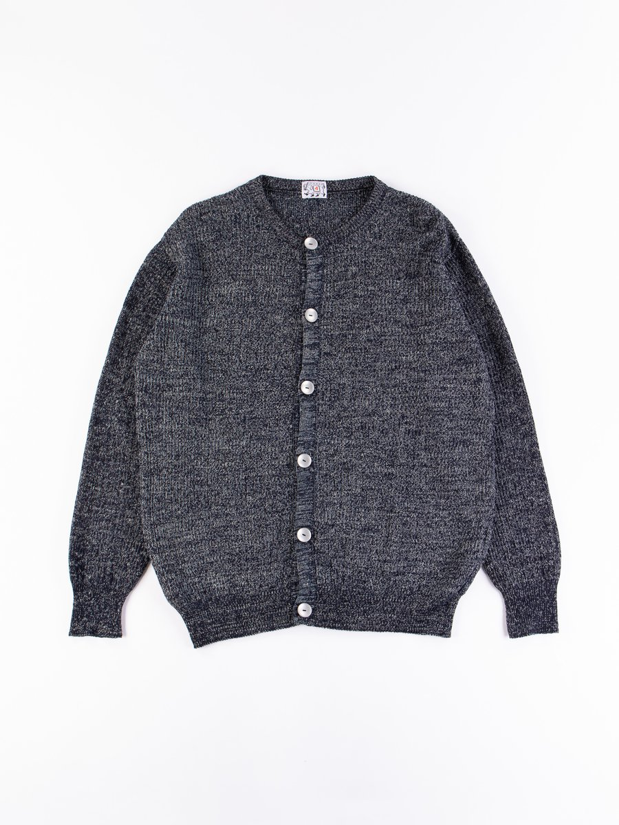 Rinse Washed Indigo Cotton/Linen Rower's Cardigan