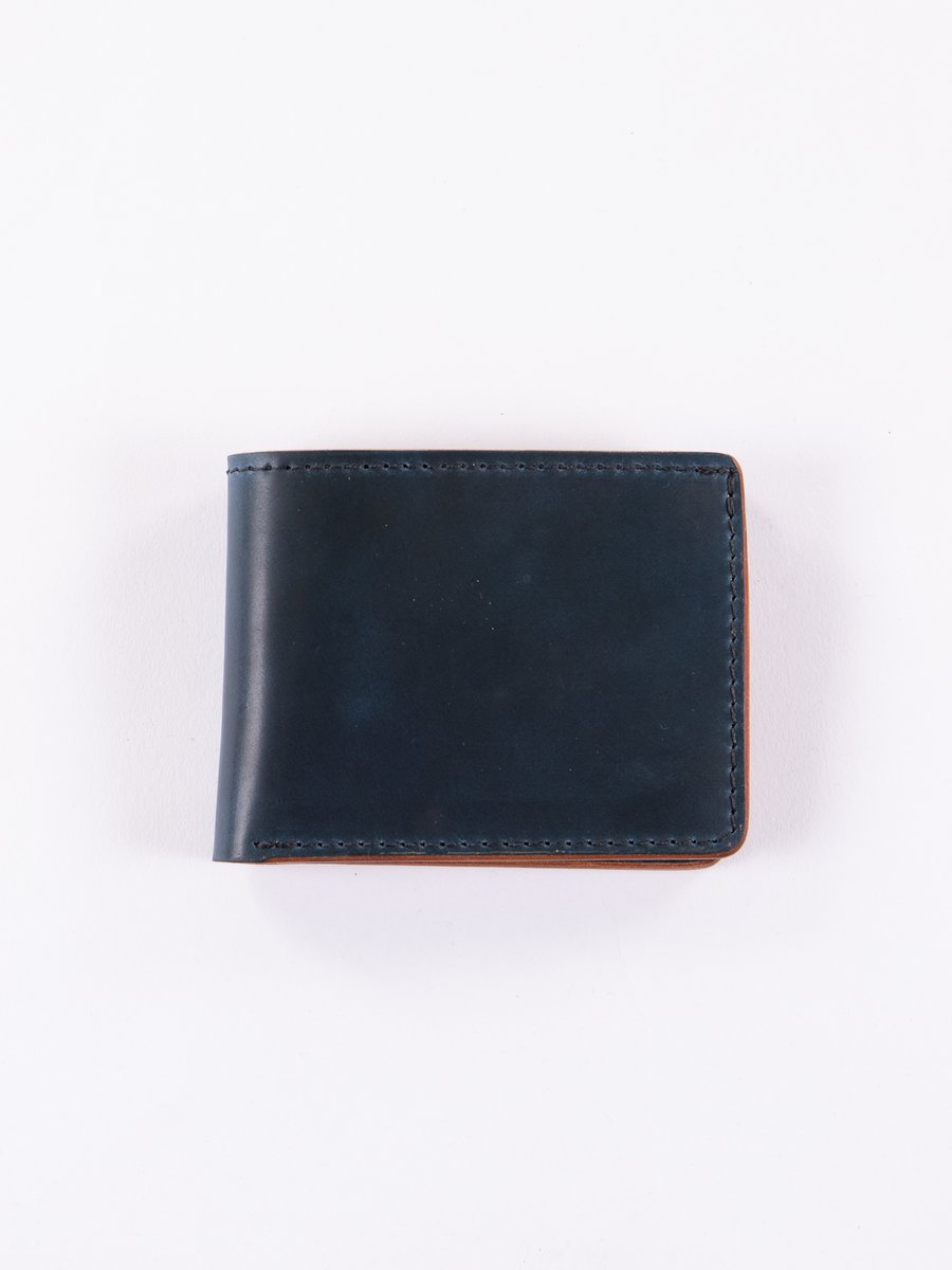 Nautical Blue Cordovan Utility Bifold Wallet